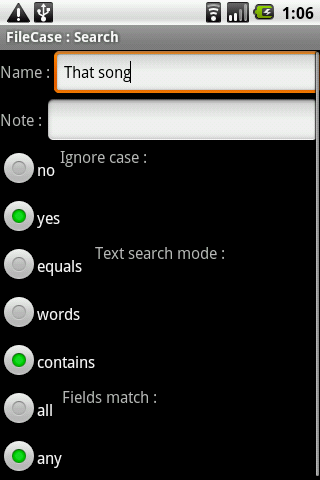 FileCase search panel